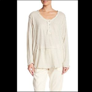 Free People stripe Henley tee shirt top blouse